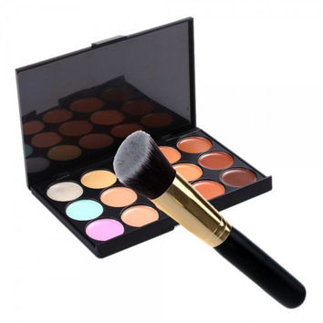 15-Color Face Cream Concealer Cosmetic Palette & Angled Makeup Brush Set Gift + Free Shipping + Big Discount