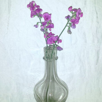 Vintage French Glass Vase , Hand Blown , Decanter