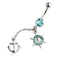 BodyJ4You¨ Anchor Belly Ring Long Dangle 14G