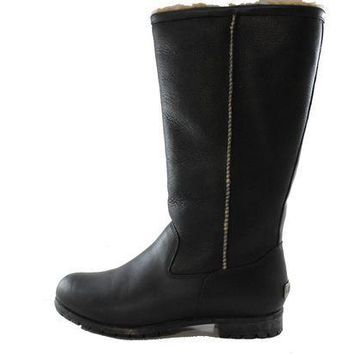 CREY1O Authentic UGG Australia Brooks Tall II Women's Black Leather Shearling Fur Winter Boot