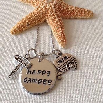 Happy camper necklace, love camping, camping, RV, motorhome campers, adventurers, outdoors, nature.