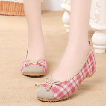 new Women Cotton Flats Slip Casual Shoes size 678