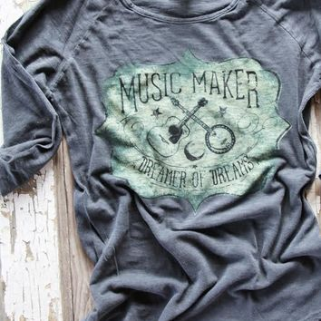 music maker 3/4 tee-grey