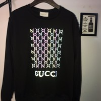 HCXX 19Aug 340 Gucci 3D Stereo Reflective Colorful Printing Breathable Sweater Black