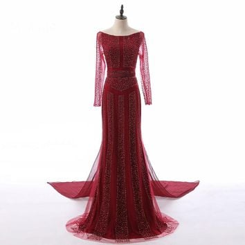 Beading Mermaid Tulle Evening Dress Long Sleeves Train Elegant Evening Gowns Robe