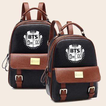 kpop style bagpack leather backpack fashion designer bookbags korean travel bag women school bags for teenage girls mochila bts