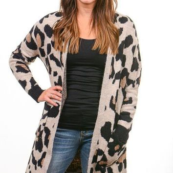 Taupe Leopard Long Cardigan