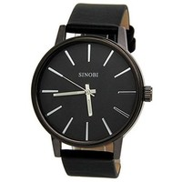 Hugme Leather Band Water Resistant Watch