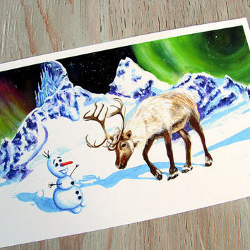 Want to Build a Snowman - Frozen inspired watercolor Art Print