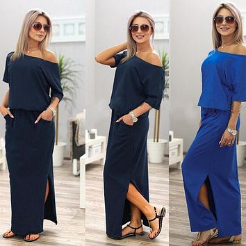 Women Dress Sexy Strapless Dresses Womens Off Shoulder Summer Long Maxi BOHO Sundress Evening Party Dress With Pocket #40
