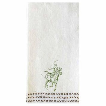 Polo Field Embroidered Linen Hand Towel