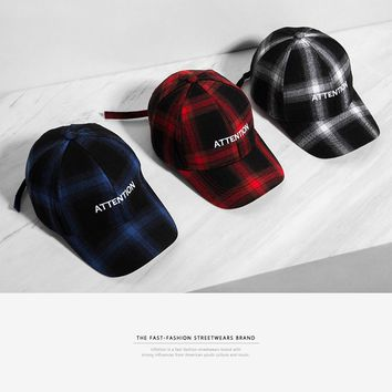 Mens Letter Embroidery Adjustable Plaid Tartan Baseball Men Hat Snapback Hip Hop Fashion Streetwear Cap