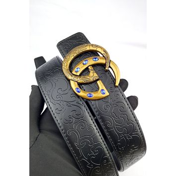 GUCCI 2019 new diamond-studded double G buckle retro simple belt