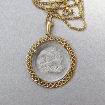 Signed TRIFARI 1970's Astrology ARIES Medallion Intaglio Glass Cameo Pendant Necklace
