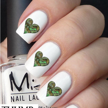 50pc Camo heart nail decal