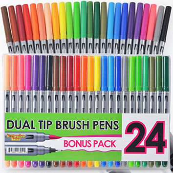 Dual Tip Brush Pens with Fineliner Tip (24 PACK, No Duplicates!) Paint Brush Markers Ink Tip and 0.4mm Fine line tip on the other side. Perfect for Artists, Watercolor, Sketching, Coloring, and More!