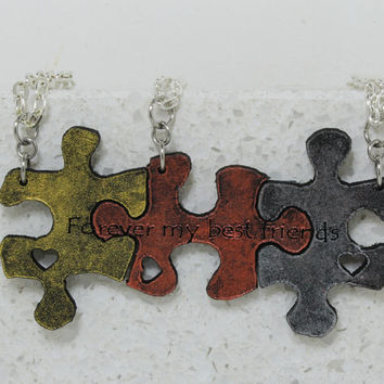 Puzzle Pieces 3 piece Leather Necklace Set Forever my best friends