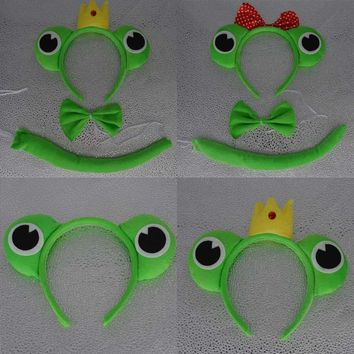 Cute Animal Frog Headband Bow Tie Tail Set For Kids Adults Cosply Performance Props Festival Dress Party Costume Accessories