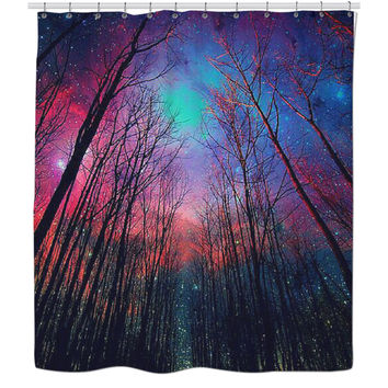 Midnight Trees Shower Curtain