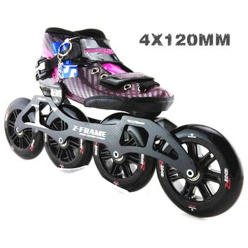 PS racing speed skating shoes Professional adult child roller skates with Big wheels 4*120mm inline speed skates wheels