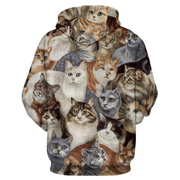 Cap Hoodies Men/Women Sweatshirts Brand 3d  Jacket Print Cats Animals Men Hoodies Hooded lovely Trac