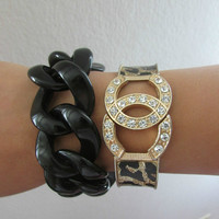 Womens, Teens , Black Chunky Chain Link Bracelet (CC Bracelet not included)