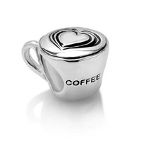 Sterling Silver Love Coffee Cup Bead Charm