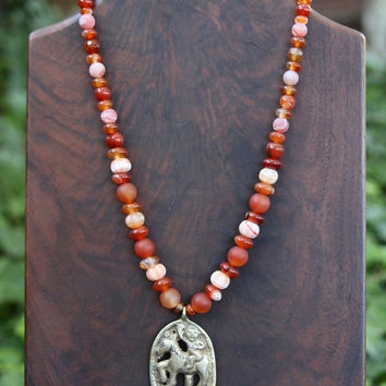 SALE Carnelian Necklace Assorted Rust Orange Peach Gradated Stones with Old Tibetan Pendant Gemstone Je