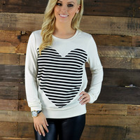 SZ LARGE Love Is In The Air Striped Heart Sweater