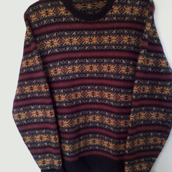 Gorgeous Nautica oversize Nordic style sweater, hipster grunge size L, jumper