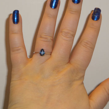 Size 8 Sterling Silver Prong Set Pear Shape London Blue Topaz Ring