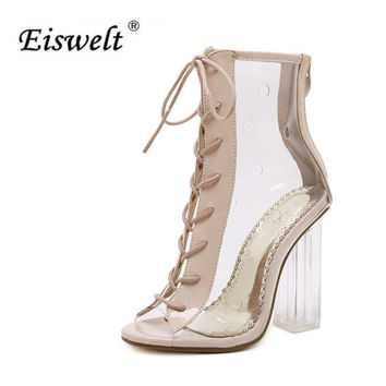 EISWELT Fashion Summer Sexy Sandals Strap Casual High Heel Open Toes Women Transparent  Jelly Clear Sandals Heels Shoes#LQ155