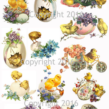 Vintage Easter Scrap Images Chicks and Eggs Printed Collage Sheet  #101