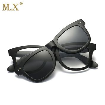 2018 Unisex  Fashion square Glasses Frame For Men Myopia Sunglasses Magnetic Clip On Spectacles Polarized Lens Frame Glasses