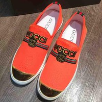 GUCCI New Fashion Red And Green Stripe Letter Embroidery Men Shoes Orange