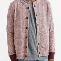 CPO Collarless Button-Down Cardigan- Maroon