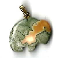 "New Carved Fancy Jasper Gemstone Green Buffalo Pendant w/ 18"" gold-tone chain"