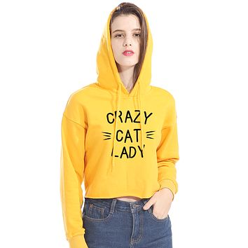 CROPPED CRAZY CAT LADY HOODIE