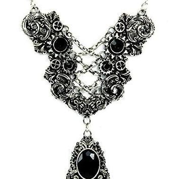 Silver Corset Chain Lace Victorian Pendant Necklace with Black Stones