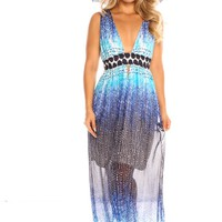 BLUE MULTI PRINT DESIGN SLEEVELESS DEEP VNECK LOOK MAXI DRESS