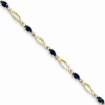 14k Yellow or White Gold Diamond & Sapphire Bracelet