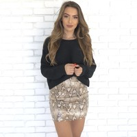 For Goodness Snake Print Mini Skirt