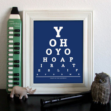 Pirates Of The Caribbean Eye Chart, Yo Ho Yo Ho A Pirate's Life For Me, 8 x 10 Giclee Print BUY 2 GET 1 FREE