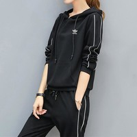 """Adidas"" Women Casual Fashion Stripe Long Sleeve Print Long Sleeve Hooded Set Two-Piece Sportswear"