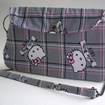 Hello Kitty Clutch Purse with Chain Strap / Gray & Pink Plaid Bag