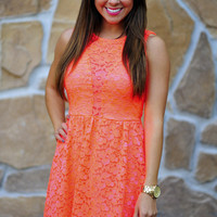 Never Forget Neon Dress: Coral   Hope's
