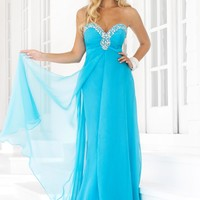 Blush Prom 9388 Strapless Aqua Evening Gown