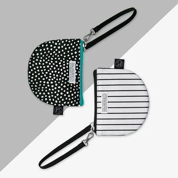 Semicircle small zipper pouch with strap