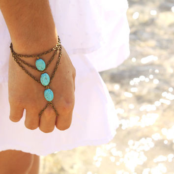 Slave Bracelet Hand Bracelet 10% PRE FALL SALE Hipster Bronze Chain Bohemian Three Turquoise Beads Triangle Chevron Hand Jewelry Piece