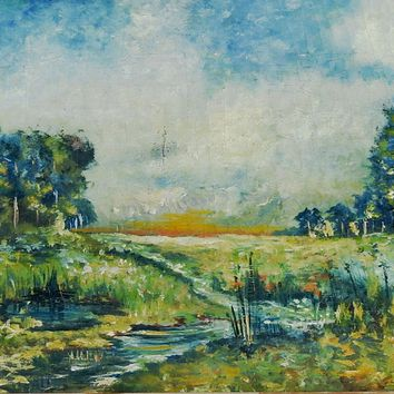 Landscape In Blue Painiting